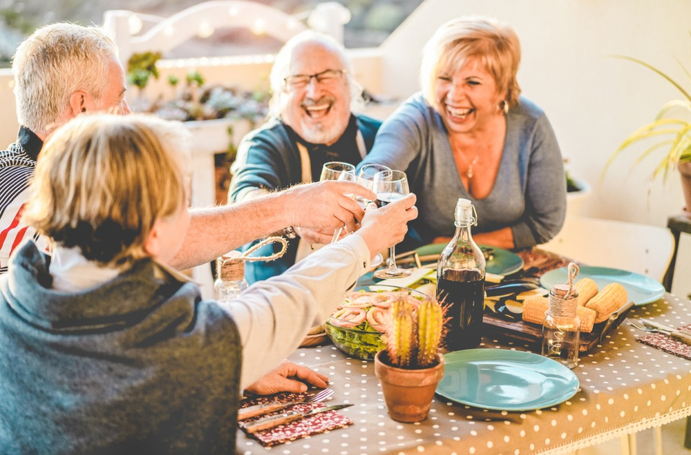 mature adults eating & drinking with dentures